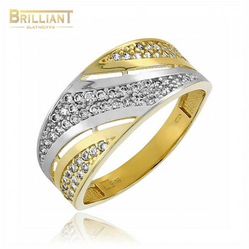 Zlatý prsteň Au585/000 14k s kamienkami