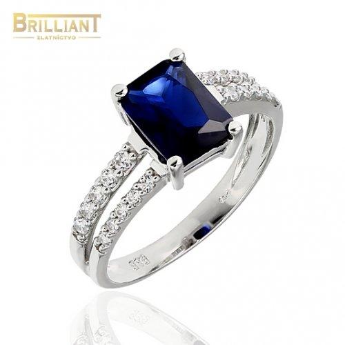 Zlatý prsteň Au585/000 14k s modrým kameňom a zirkónmi