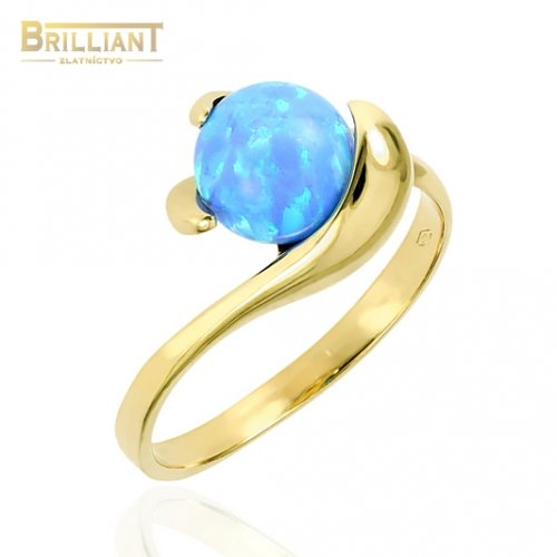 Zlatý prsteň Au585/000 14k s modrým opálom