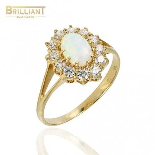 Zlatý prsteň Au585/000 14k s opálom 0,7cm a zirkónmi
