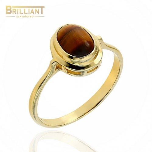 Zlatý prsteň Au585/000 14k s tigrím okom