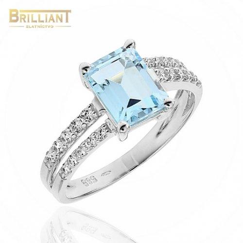 Zlatý prsteň Au585/000 14k so svetlomodrým kameňom a zirk.