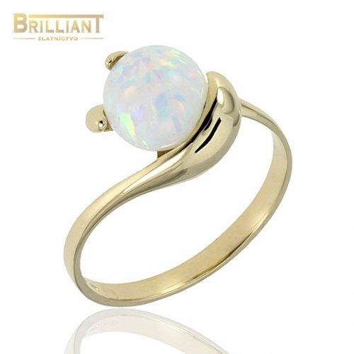 Zlatý prsteň Au585/000 14k so synt. opálom