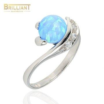 Zlatý prsteň Au585/000 14k so synt. opálom a zirkónmi