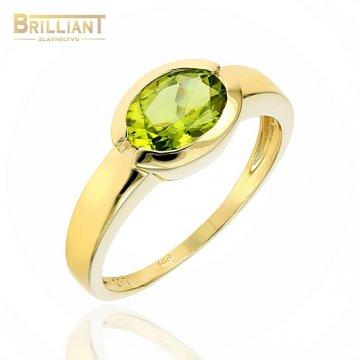 Zlatý prsteň Au585/000 14k so zeleným kameňom