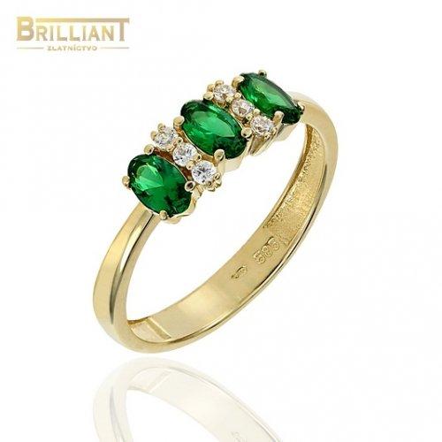 Zlatý prsteň Au585/000 14k so zelenými kameňmi a zirkónmi