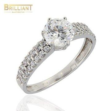Zlatý prsteň Au585/000 14k so zirkónmi biele zlato