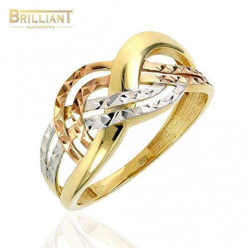 Zlatý prsteň Au585/000 14k trojfarebný