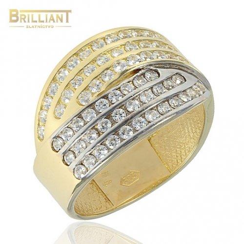 Zlatý Prsteň Au585/000 dvojfarebný s kameňmi