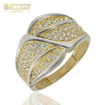 Zlatý Prsteň Au585/000 Kombinovaný so Zirkónmi