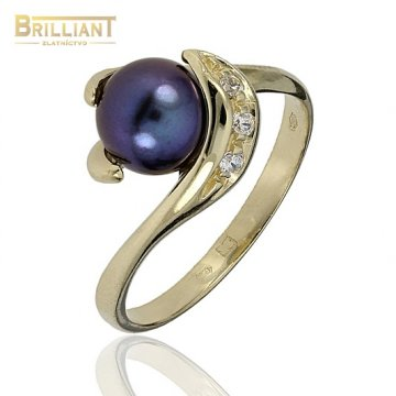 Zlatý Prsteň Au585/000 s tmavou perlou a zirkónmi
