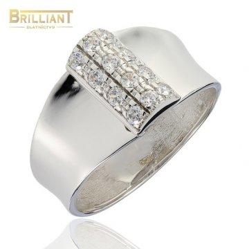 Zlatý Prsteň Au585/000 z bieleho zlata s kameňmi
